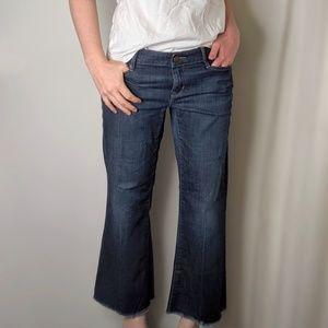 Gap Signature Ed. Cropped Boot Cut Raw Hem Jeans